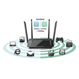 D-Link Wireless Gigabit AC1200 Dual Band Router Mbps 1x WAN (1000Mbps) + 4x LAN (1000Mbps)