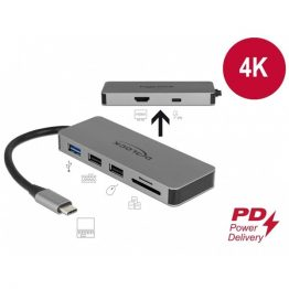 DELOCK USB Type-C docking station 4K HDMI, Hub, SD kártyaolvasó, PD 2.0